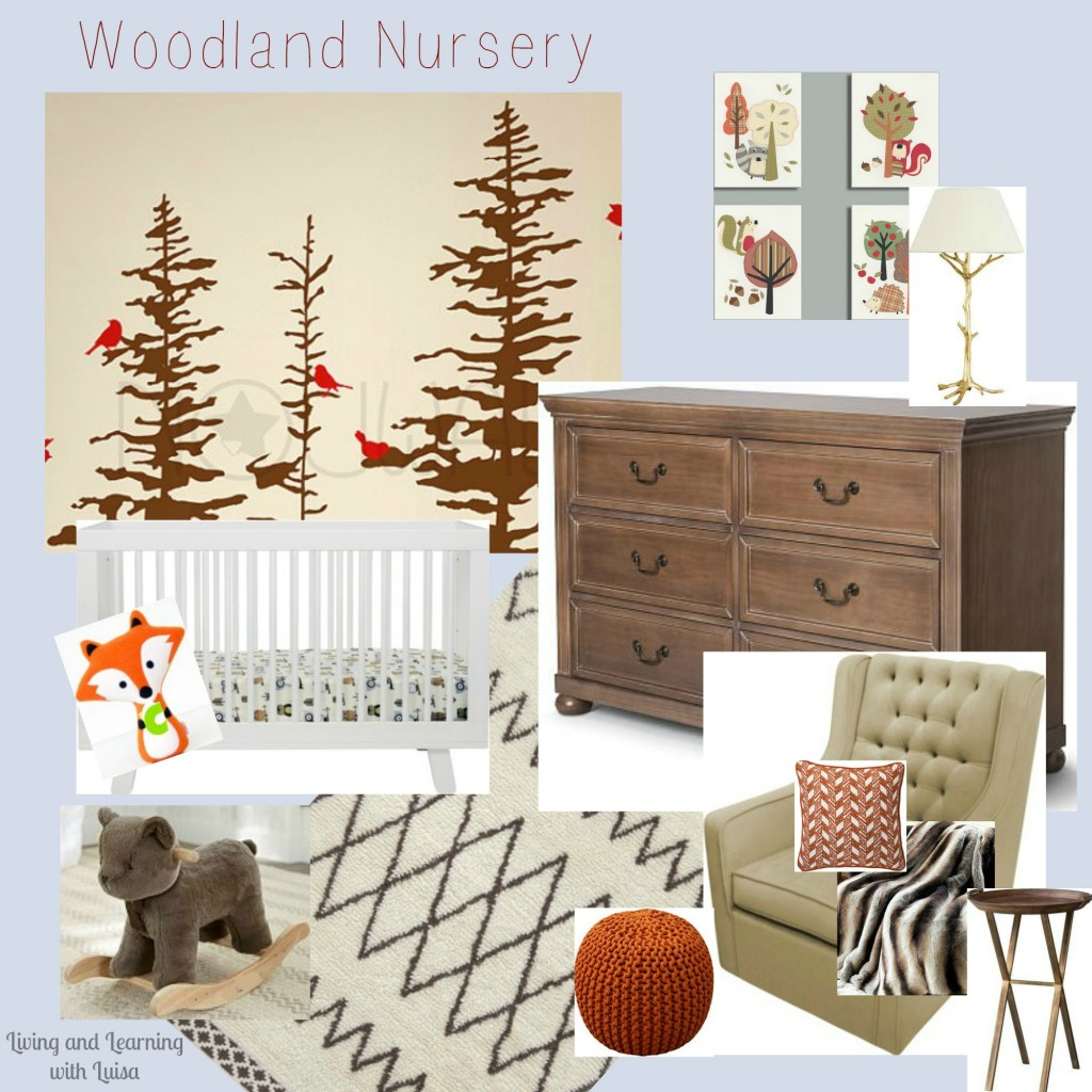 woodland nursery mood board